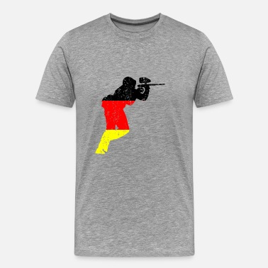 Multi Coloured Paintball player german retro gift - Men's Premium T-Shirt