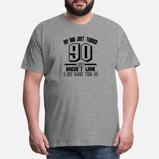 Mens Premium T Shirt90 Years Birthday Gift Grandpa Father Ninety Old