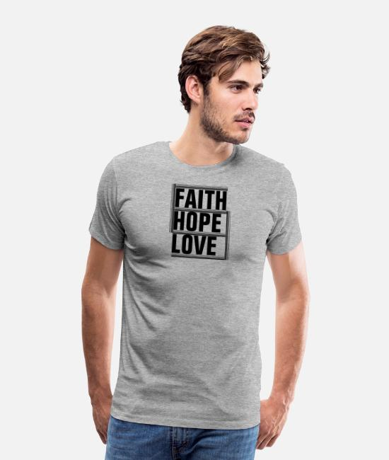 Tycka Om T-shirts - Faith Hope Love - Christian - Premium T-shirt herr gråmelerad