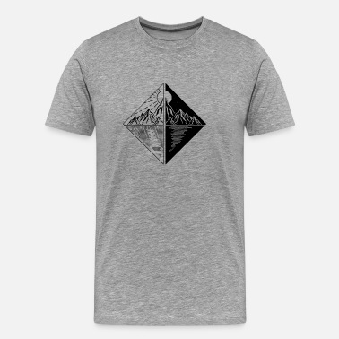Nyfiken Duality Black White - Nature, Mountains, Lake - Premium-T-shirt herr