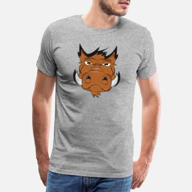 Tusk Drawing of a wild boar head in a comic style - Men's Premium T-Shirt