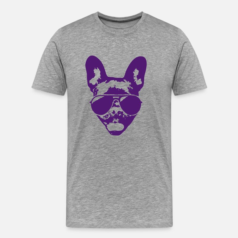 French Bulldog T-Shirts - French bulldog with sunglasses - Men's Premium T-Shirt heather grey