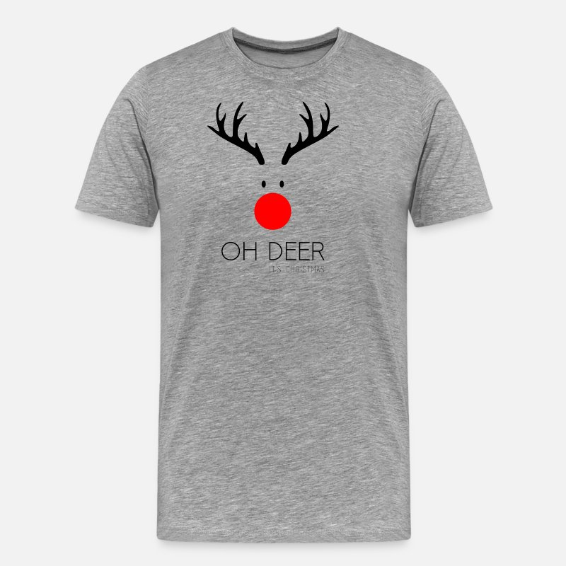 Nose T-Shirts - Oh Deer it's Christmas - Men's Premium T-Shirt heather grey