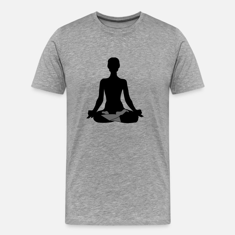 Cool T-Shirts - Mindfulness Silhouette - Men's Premium T-Shirt heather grey