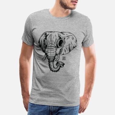 Graffiti elephant ico blk outline - Premium T-skjorte for menn