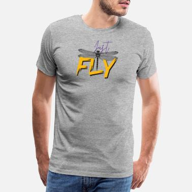 Just Fly Just FLY - DRAGONFLY - Yellow Purple - Premium T-shirt herr