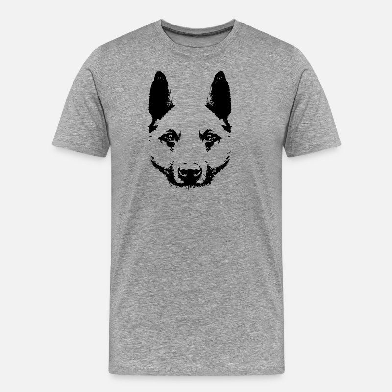 Nose T-Shirts - Dog face silhouette gift idea - Men's Premium T-Shirt heather grey