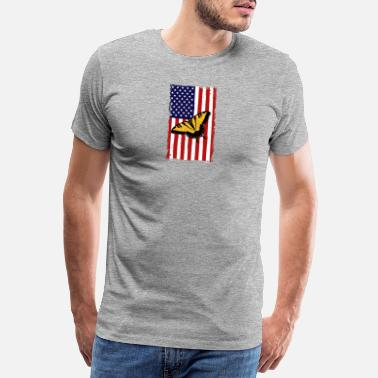 Moth Butterfly America Flag Independence Day - Men's Premium T-Shirt