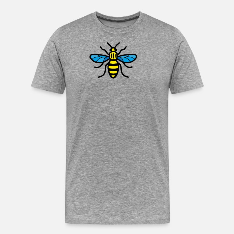 Manchester T-Shirts - Manchester Bee (Colour) - Men's Premium T-Shirt heather grey