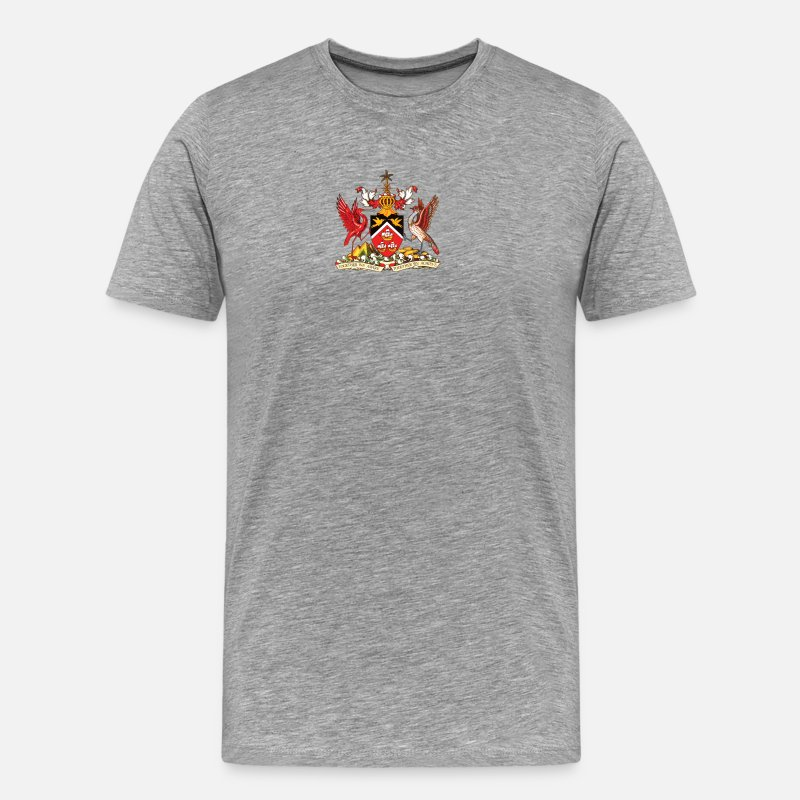 Caribbean T-Shirts - National coat of arms of Trinidad and Tobago - Men's Premium T-Shirt heather grey