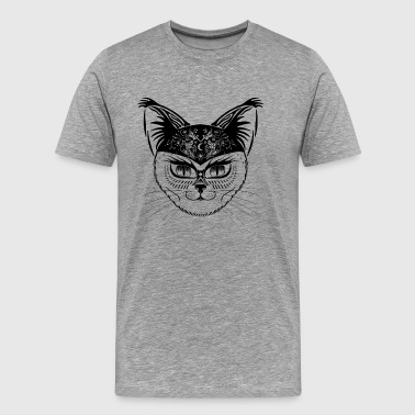 Patterned hipster cat - Black - Men's Premium T-Shirt