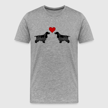 Cocker Spaniels (Blue Roan) Hearts - Men's Premium T-Shirt