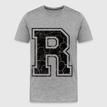 Letter R in the grunge look - Men's Premium T-Shirt