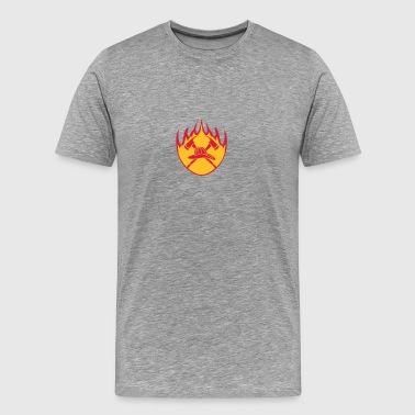Fire flame helmet 2 axes logo - Men's Premium T-Shirt