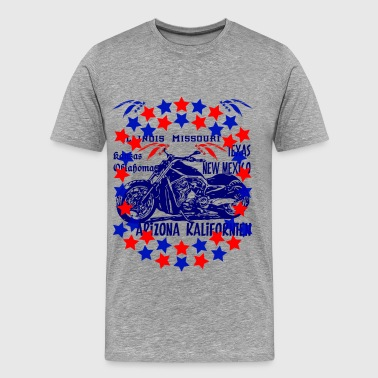 Collection moto Route 66 bleu - T-shirt Premium Homme