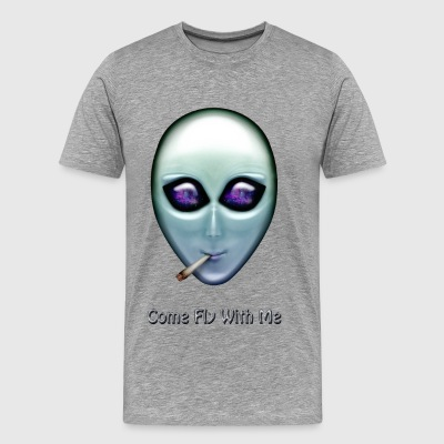 Come Fly With Me Smoking Alien - Men's Premium T-Shirt