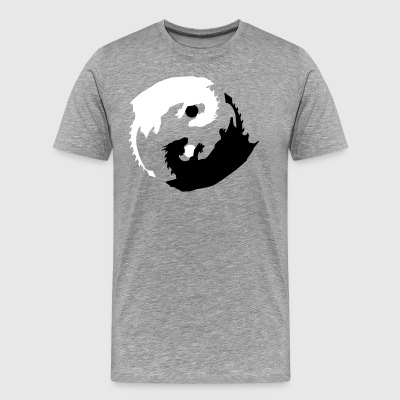 Yin and Yang Dragon with Spheres - Men's Premium T-Shirt