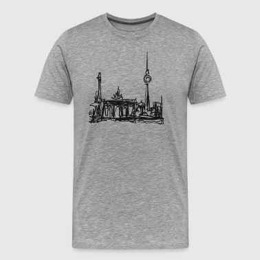 TV Tower, Berlin, Brandenburg Gate, drawing - Men's Premium T-Shirt