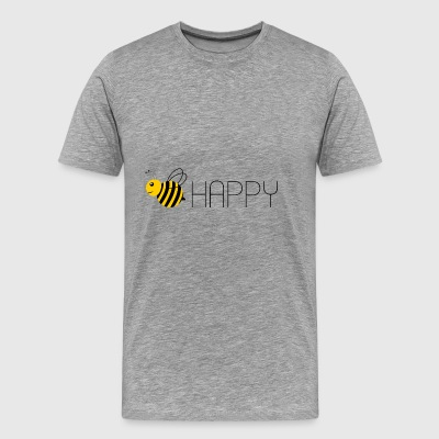 Bee Happy Text - Männer Premium T-Shirt