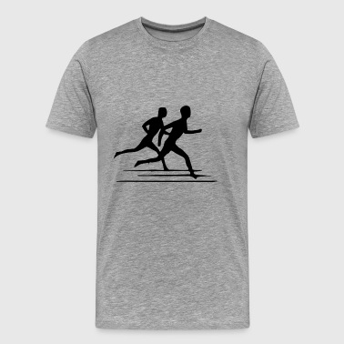 Two runners on the way - Men's Premium T-Shirt