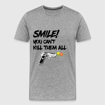 gun flowers shoot smile fun quote softair walther - Männer Premium T-Shirt