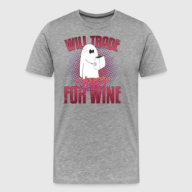 Cute Halloween Ghost Will Trade Candy For Wine - Männer Premium T-Shirt