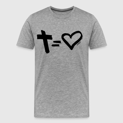 Cross = Hart ZWART // Cross = Liefde BLACK - Mannen Premium T-shirt