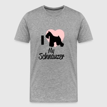 Schnauzer Design / I Love / Design / Dog - Men's Premium T-Shirt
