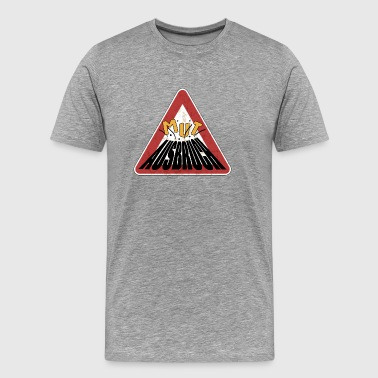 Caution rusty shield courage erupting volcano - Men's Premium T-Shirt