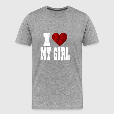i love my girl girlfriend say heart love - Men's Premium T-Shirt