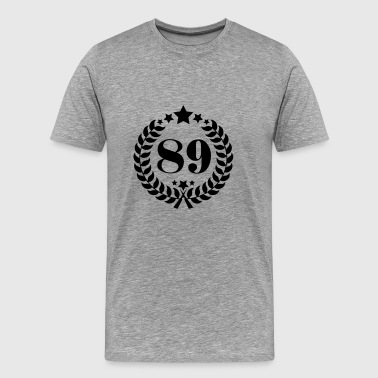89th birthday wreath number 89 vintage age - Men's Premium T-Shirt