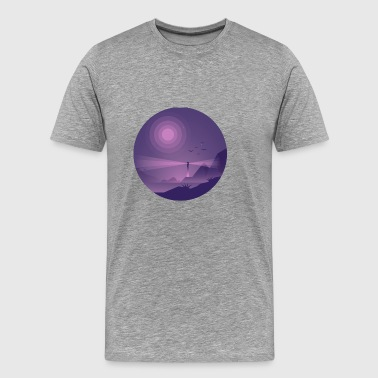 Lighthouse at Night Lilla Lys - Herre premium T-shirt