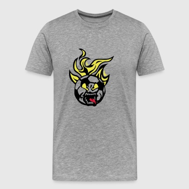 soccer football cartoon 0 face flame lan - Men's Premium T-Shirt