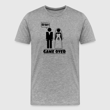 Wedding with baby inside - oh shit - game over - Mannen Premium T-shirt