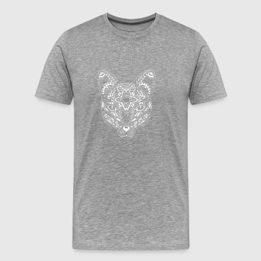 Fox blanco - Mandala Animal - Camiseta premium hombre