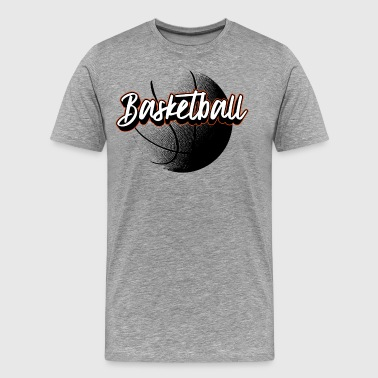 Basketball 3D Handstyle Design Black / Orange - Men's Premium T-Shirt