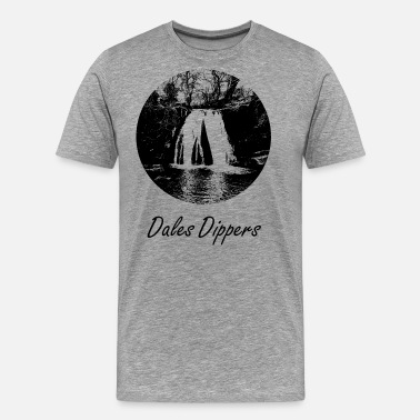Waterfall Janet's Foss - Dales Dippers logo - Men's Premium T-Shirt