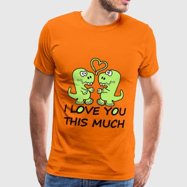 Dino Tyranosaurus Rex I Love You This Much - Mannen Premium T-shirt