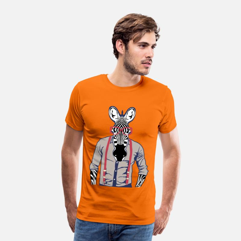 Zèbre T-shirts - zebre chemise bretelle fantaisie lunette design an - T-shirt premium Homme orange