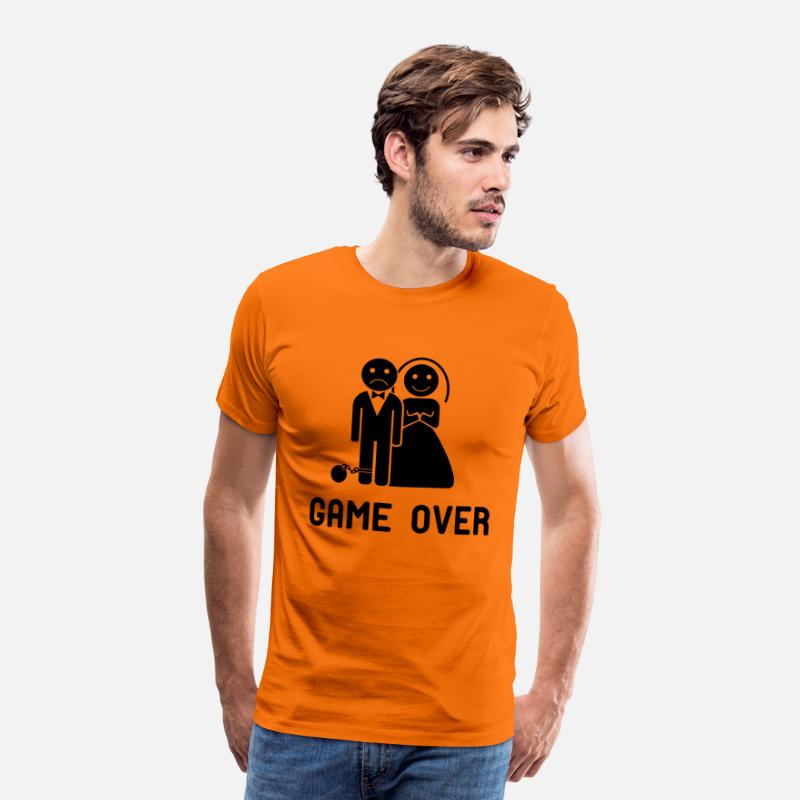 Game Over T-Shirts - Vrijgezellenfeest game over! - Mannen premium T-shirt oranje