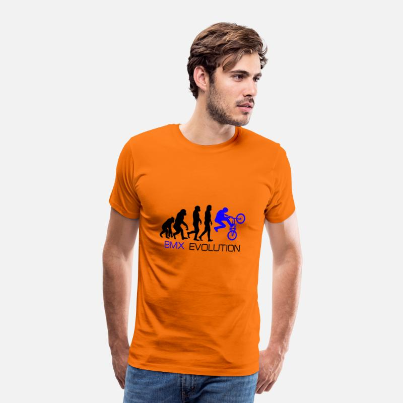 Birthday T-Shirts - Evolution - BMX Dirt Bike Shirt Gift - Men's Premium T-Shirt orange