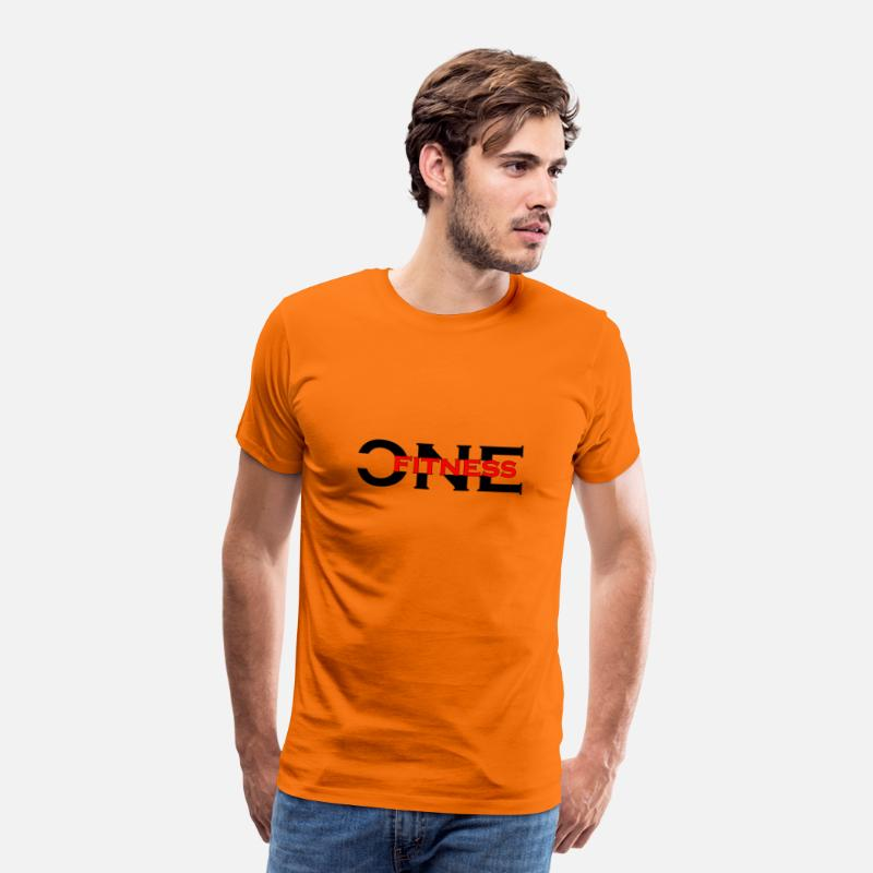 National Team T-Shirts - ONE FITNESS Logo (Without Globe) - Men's Premium T-Shirt orange
