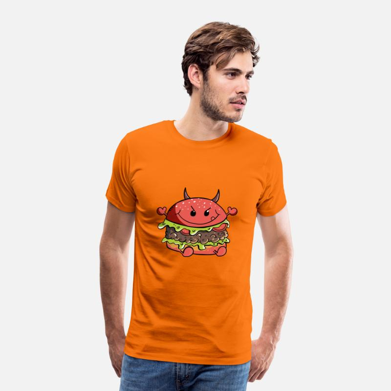 Duivel T-Shirts - Duivelse Hamburger - Burger - Sharp - Comic - Mannen premium T-shirt oranje