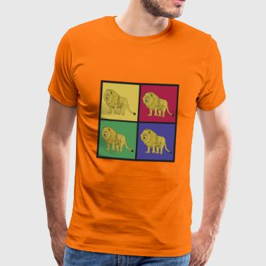 Lion animal pop art gave Afrika - Herre premium T-shirt