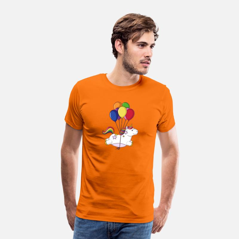 Birthday T-Shirts - Flying rainbow cartoon unicorn balloons - Men's Premium T-Shirt orange