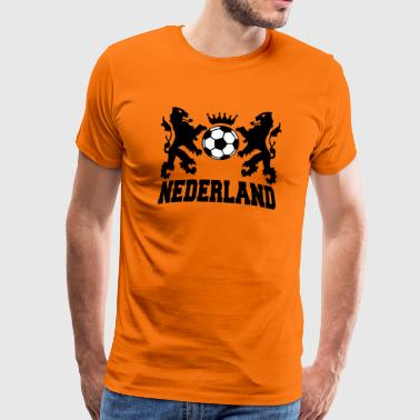 Dutch Oranje Support nederland twee leeuwen voetbal en kroon 2c - Men's Premium T-Shirt