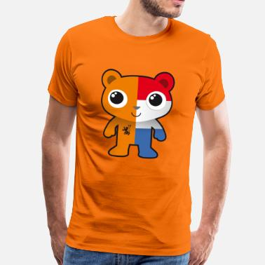 Wapen Oranje Bear Oranje en Holland flag fan football - Mannen Premium T-shirt