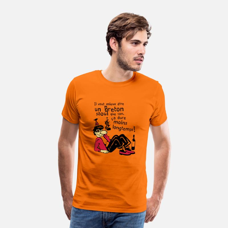 Humour T-shirts - humour citation alcool breton torcher 1 - T-shirt premium Homme orange