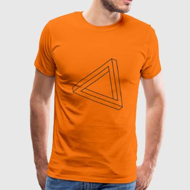 Umulig trekant optisk illusion - Herre premium T-shirt