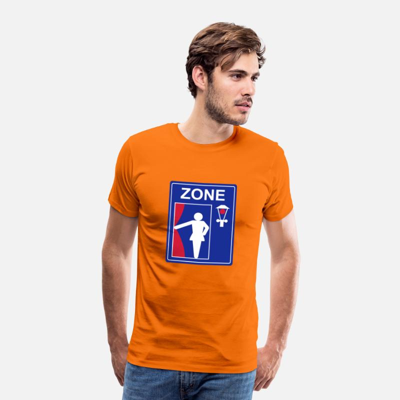 Attention T-shirts - panneau de signalisation zone de la prostitution - T-shirt premium Homme orange